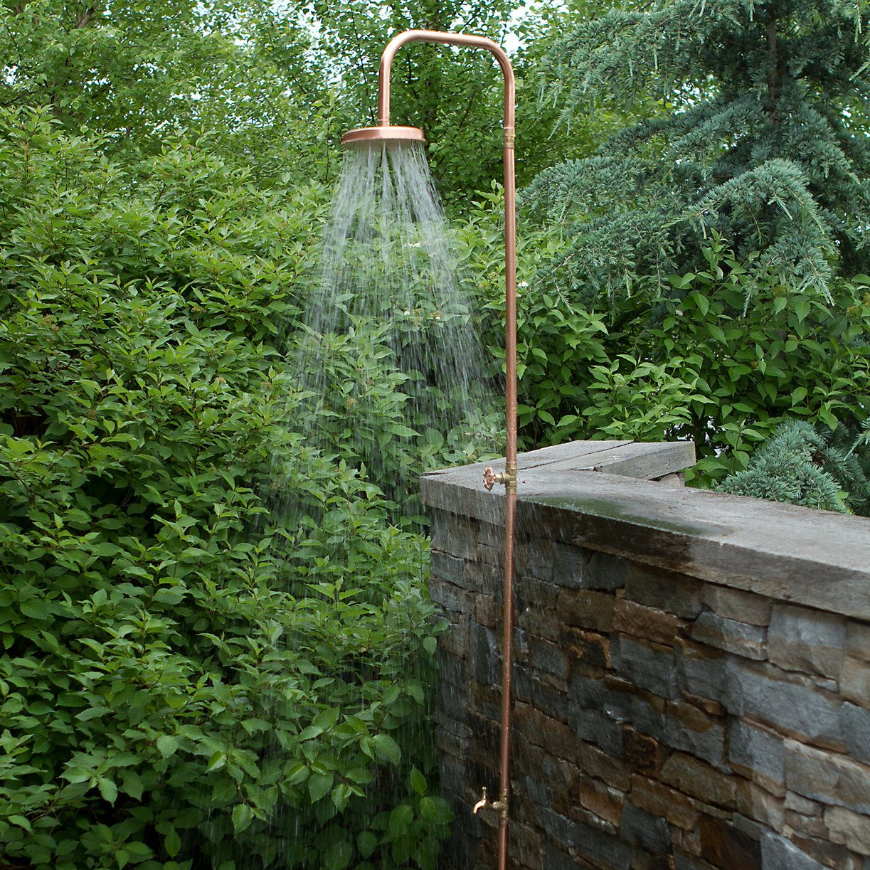 Copper Outdoor Shower In Outdoor Living Furniture Outdoor Accents Beach Pool At Terrain Outdoor Shower Outdoor Tub Outdoor
