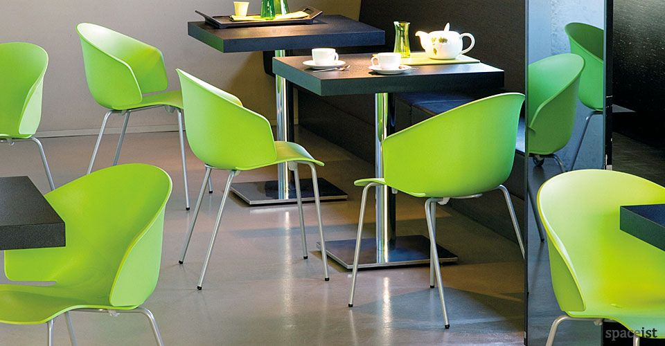 Green Chairs grace curvy lime green staff cafe chairs | cafe ideas | pinterest
