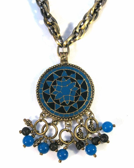 Long Chain Necklace with Enameled Pendant by blingbychristine