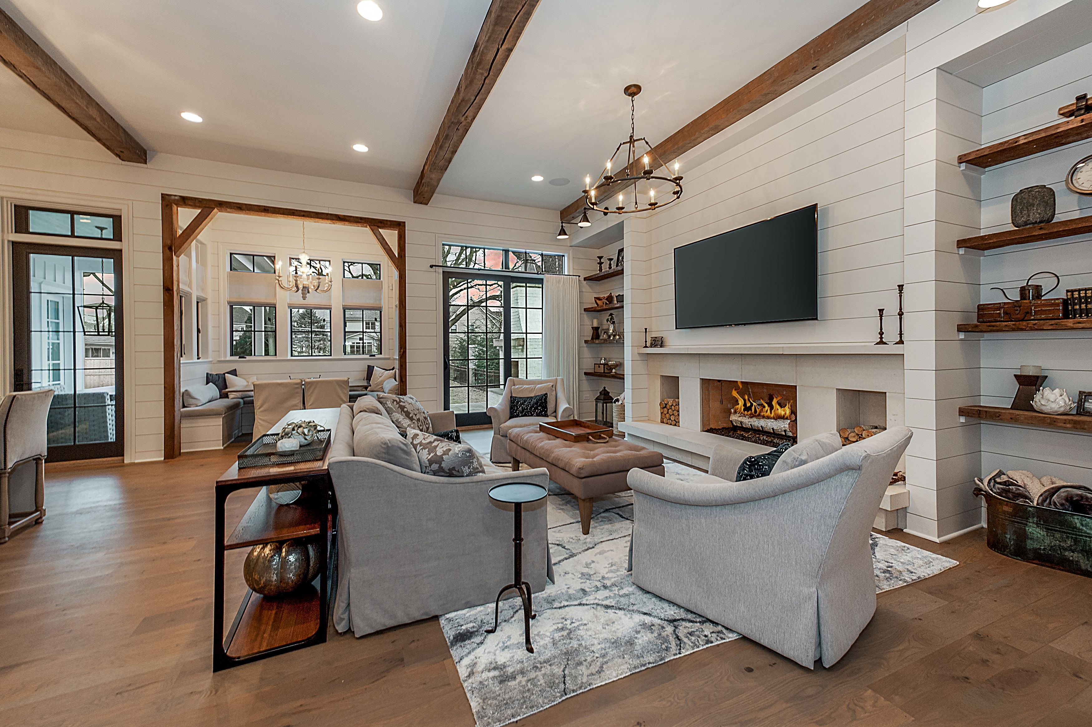 Rustic Modern Family Room With Shiplap Detailing, Reclaimed Wood Beams