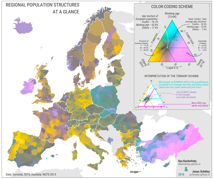 Colour Coded Map Of Regional Aged Groups In Modern Europe Geo2