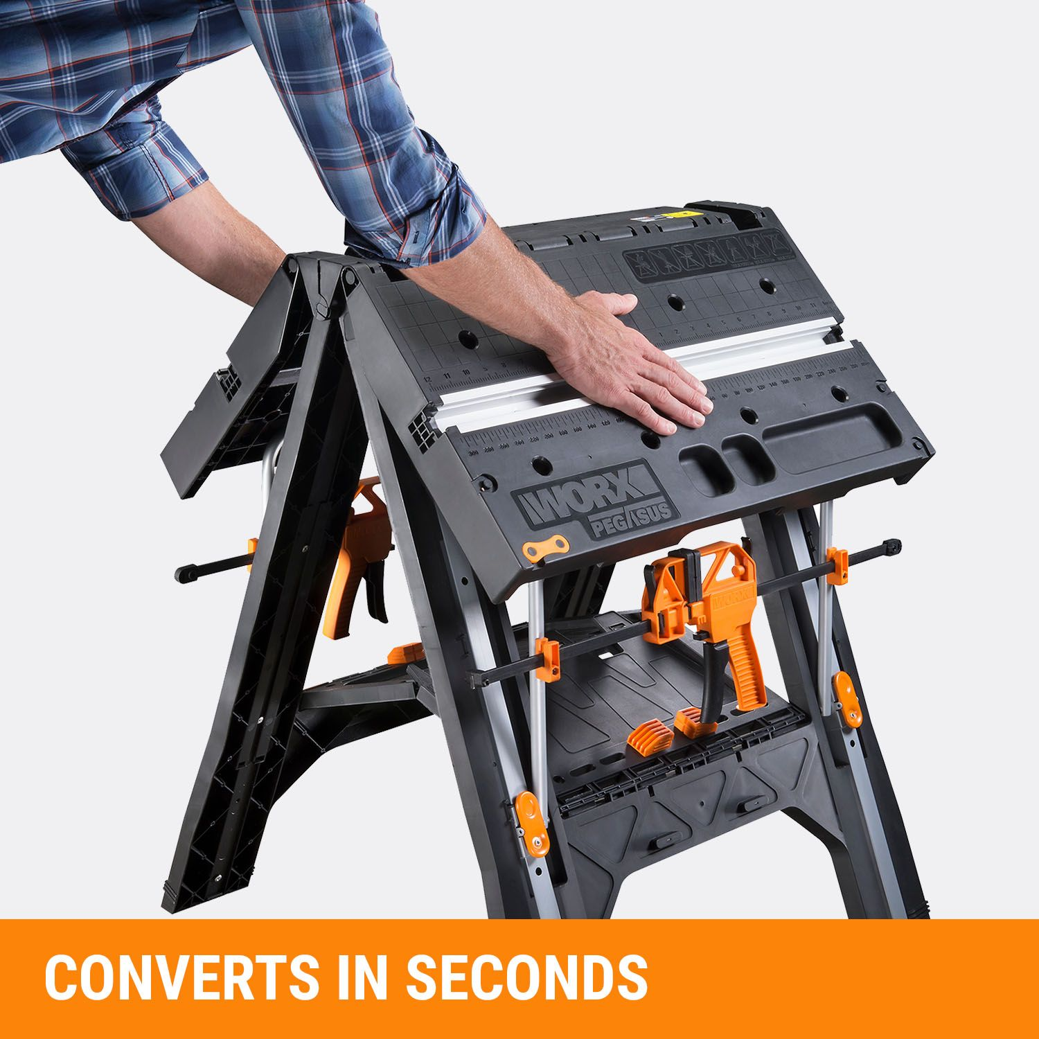 Worx Pegasus Multi Function Work Table And Sawhorse With Quick Clamps And Holding Pegs Wx051 Work Table Portable Work Table Workbench