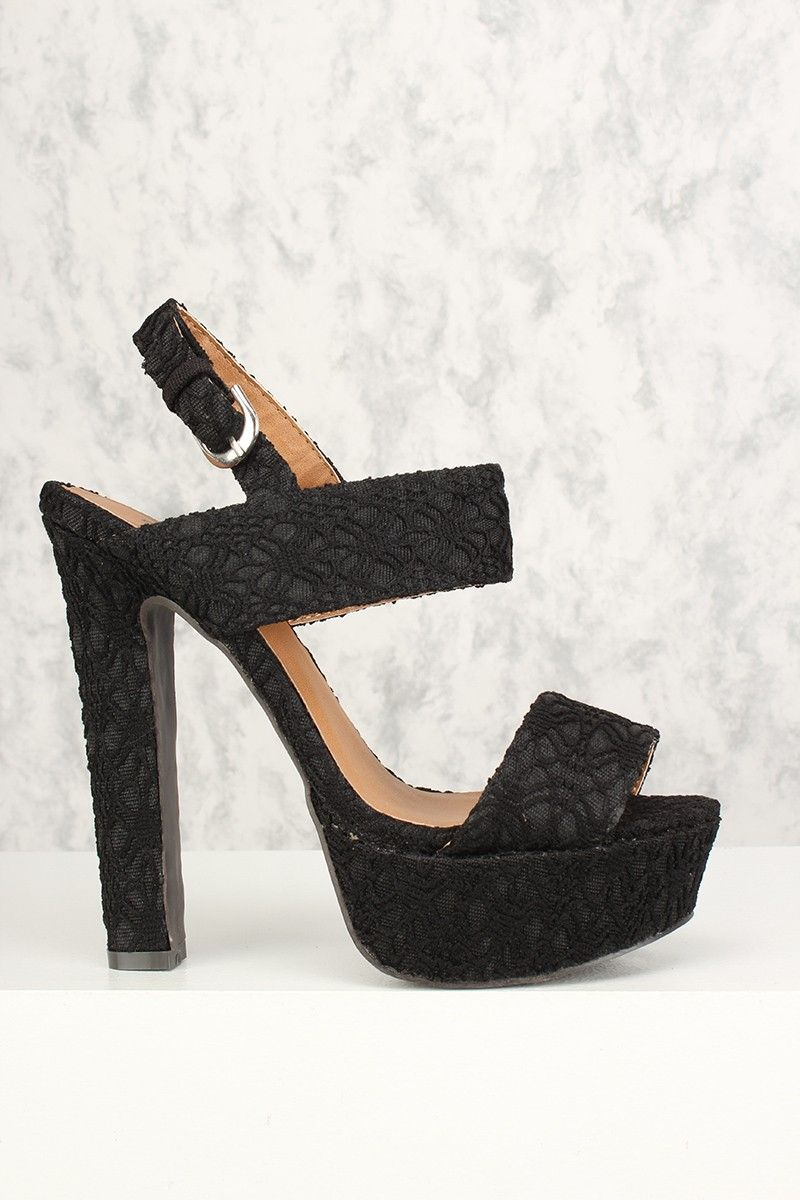 979eb80d134 Buy Sexy Black Lace Open Toe Slingback Platform Chunky High Heels with  cheap price and high