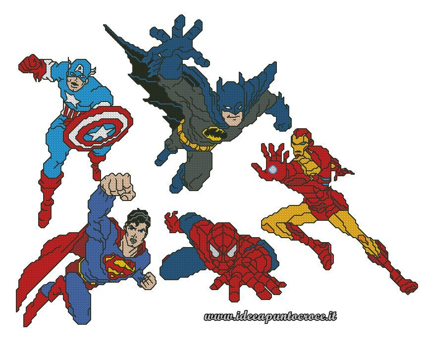 Superheroes Cross stitch 1/8