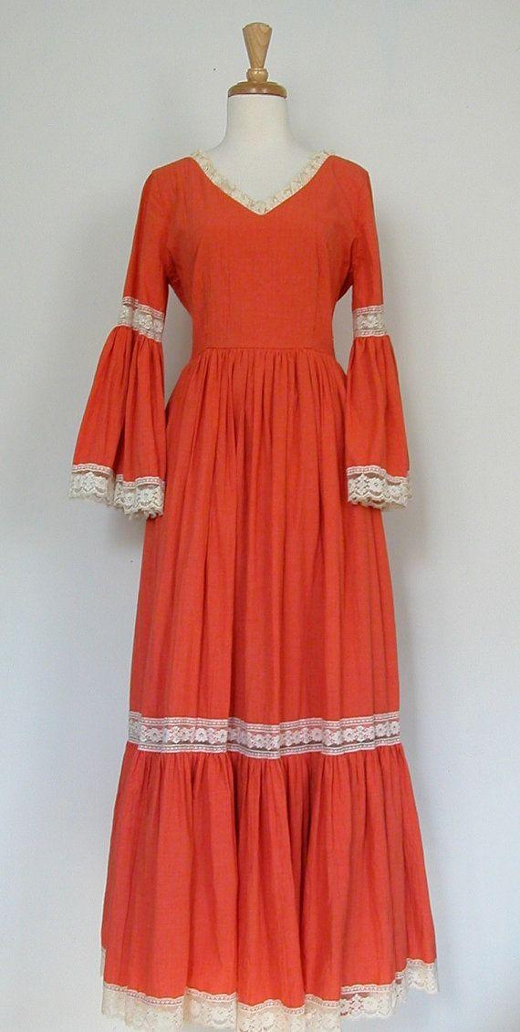 Bohemian Dress  orange 1970's peasant lace by roguegirlvintage, $135.00