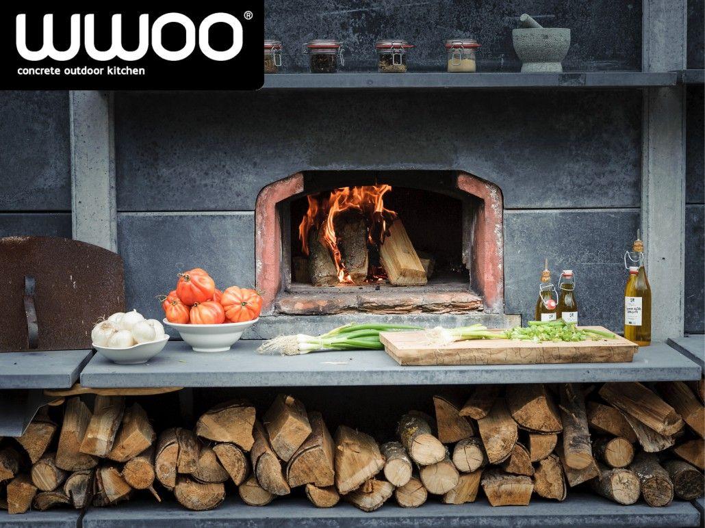 Buitenkeuken hoog antraciet met pizzaoven bge en wasbak