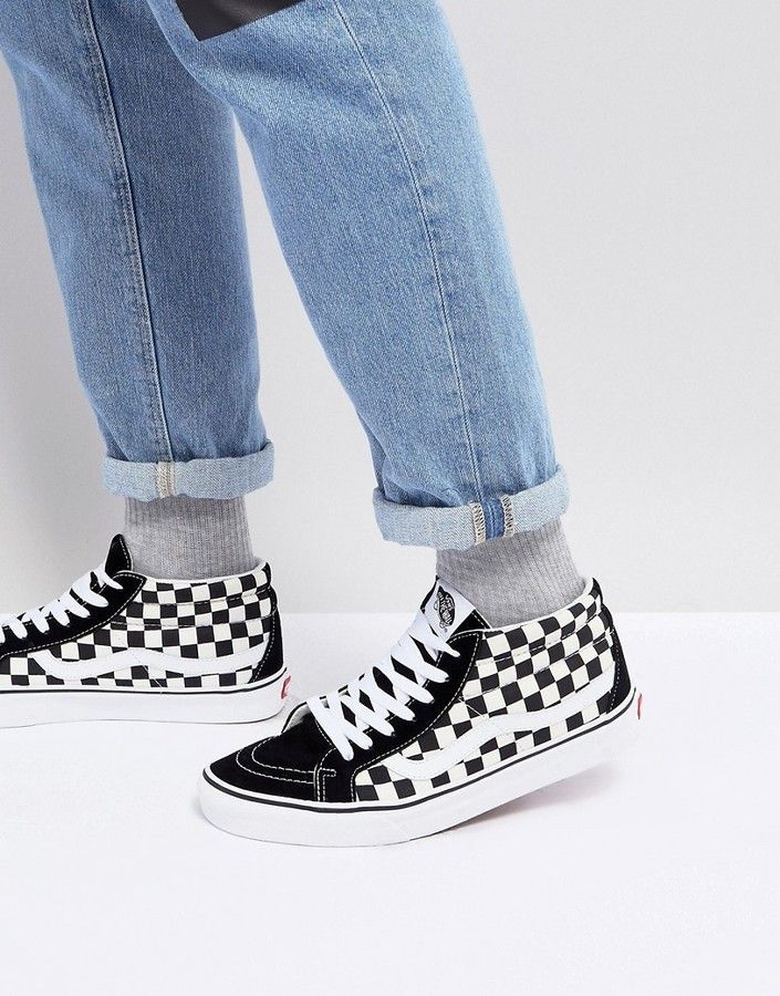 Vans Sk8-Mid Reissue Checkerboard Sneakers In Black VA391FQXH  12b796a66