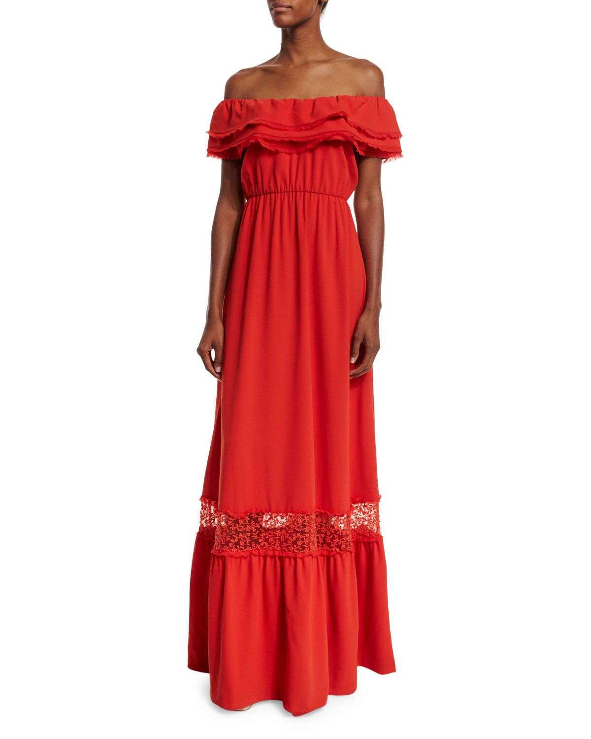 Cheri lacetrim maxi dress light red size alice olivia