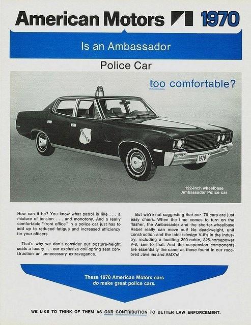 1970 amc ambassador police car advertisement blue lights rh pinterest com AMC Gremlin X AMC Eagle
