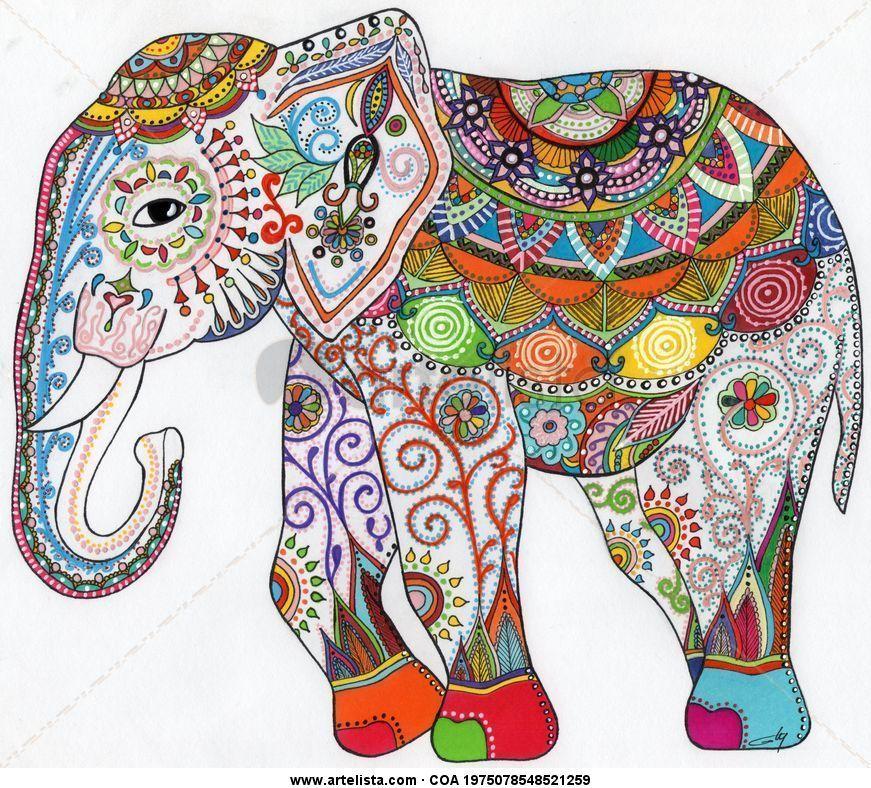 Elefante G Ly Elefantes Bordados Elefantes Pintados Pinturas De Elefantes
