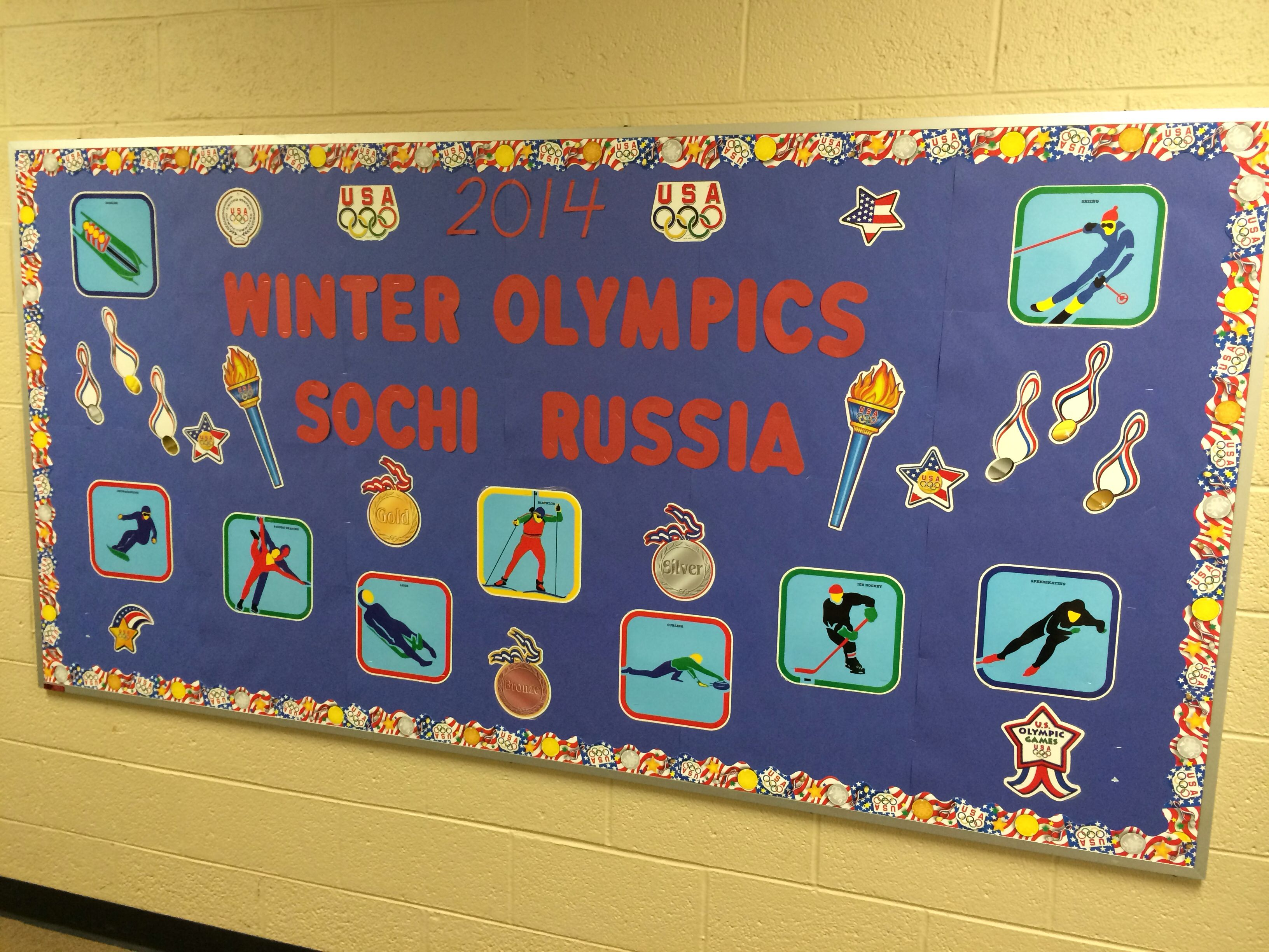 Classroom Olympics Ideas ~ Winter olympics bulletin board physical education
