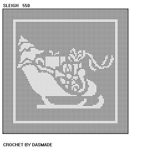 Sleigh christmas filet crochet pattern afghan doily 550 filet sleigh christmas filet crochet pattern afghan doily 550 dt1010fo