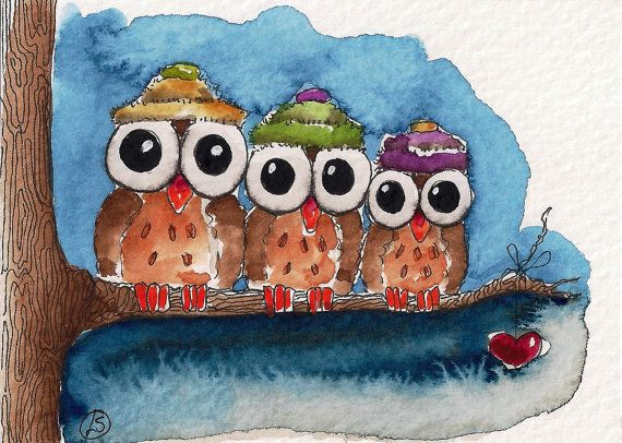 Three little owls sitting on a branch... three little owls wearing cosy little hats... three little owls staring into the night...
