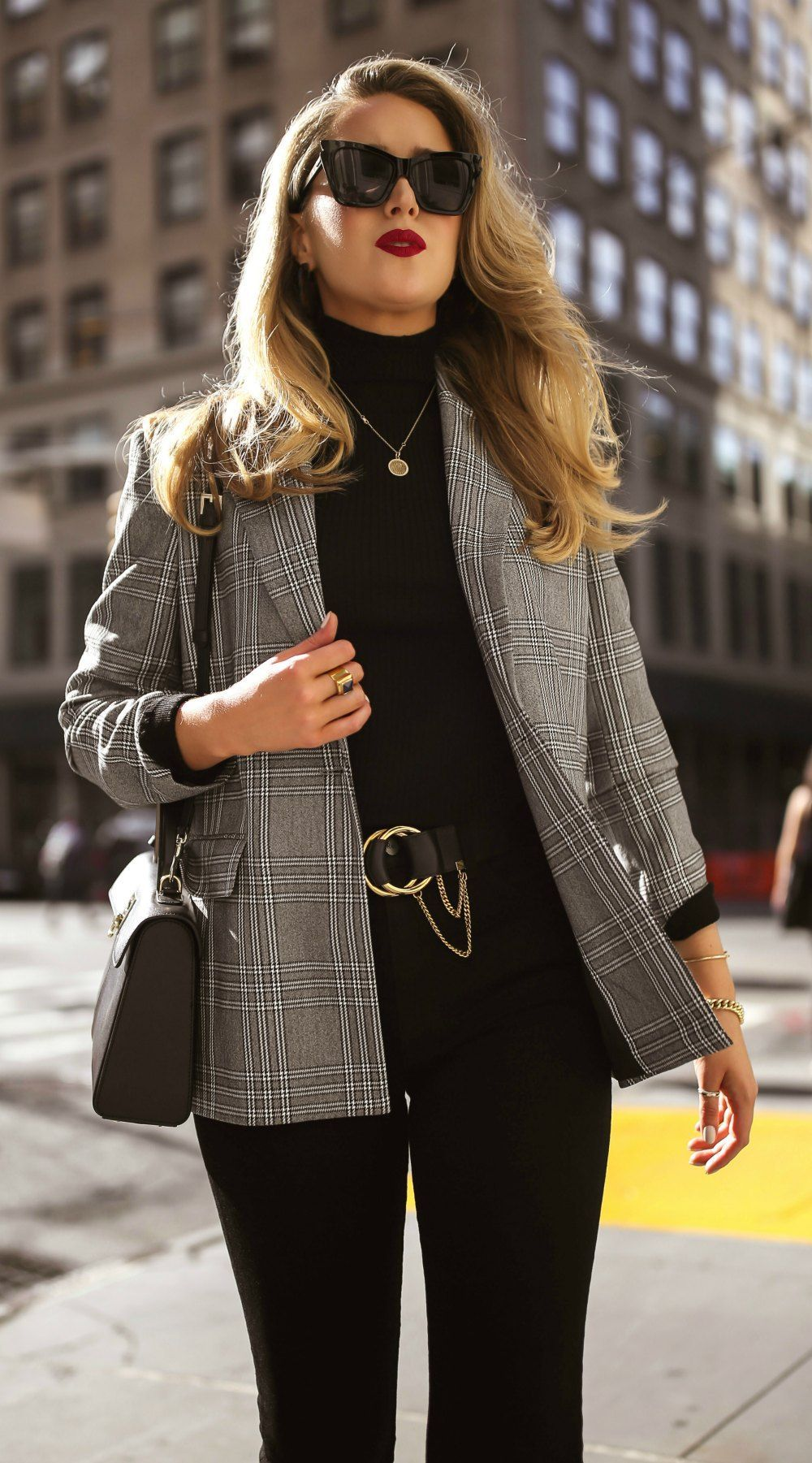 Click For Outfit Details Grey White Checked Over Sized Blazer Black Turtleneck Sweater Black Retro C Turtleneck Outfit Black Turtleneck Outfit Fashion