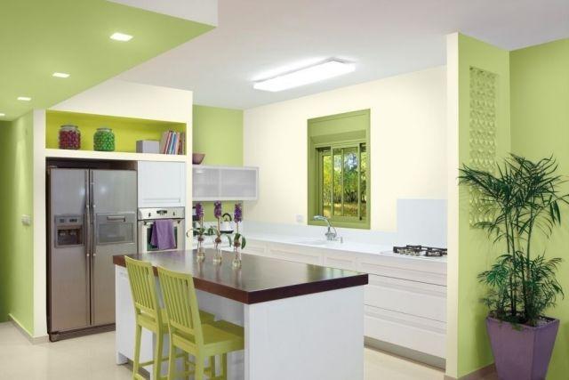 küche wandfarbe grasgrün ecru kochinsel cores nas paredes - kche wandfarben