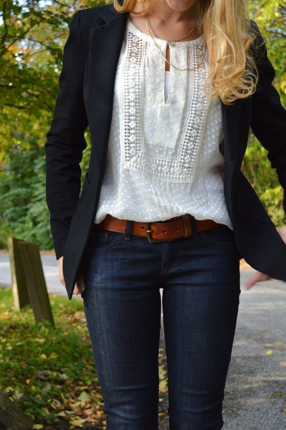 Jeans and white dots and lace blouse, navy blazer. classic, easy look