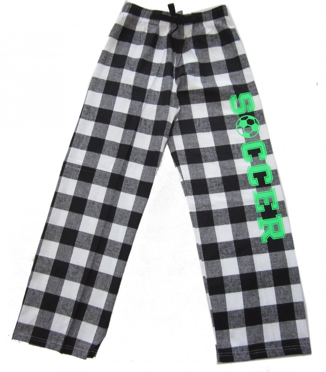 Soccer Flannel Pants - Black / White Check with Neon Green Logo