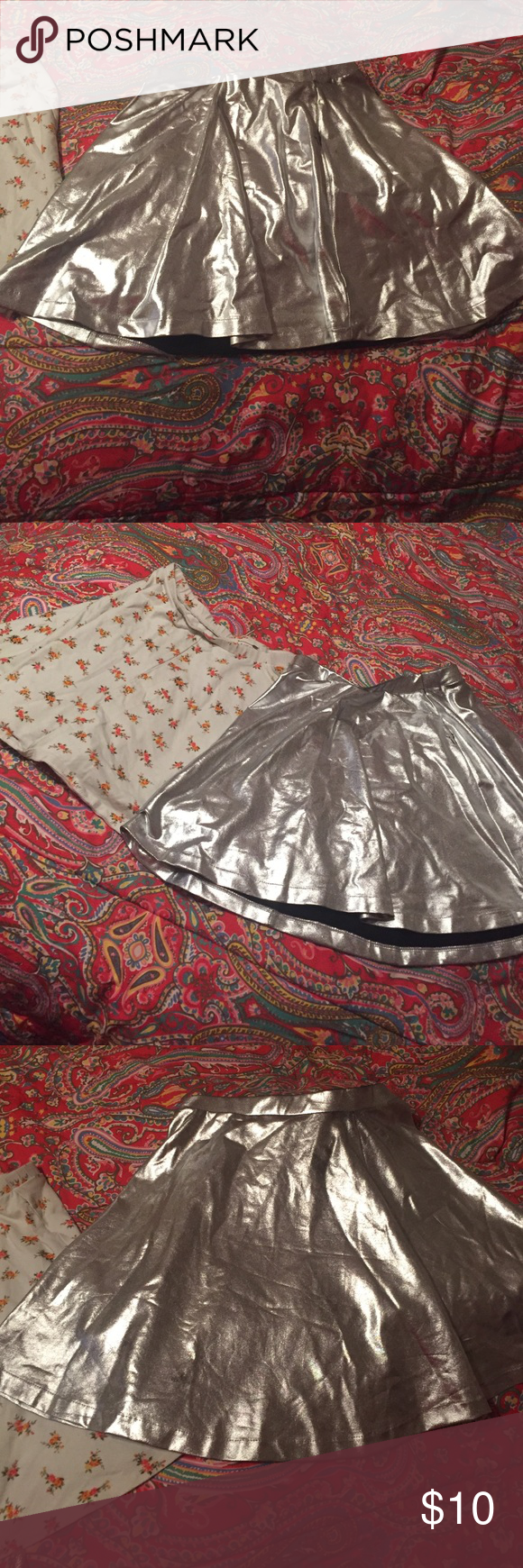 Grey shimmery skirt ! AND flowery skirt ! Grey shimmer ! two for ten Skirts Skirt Sets