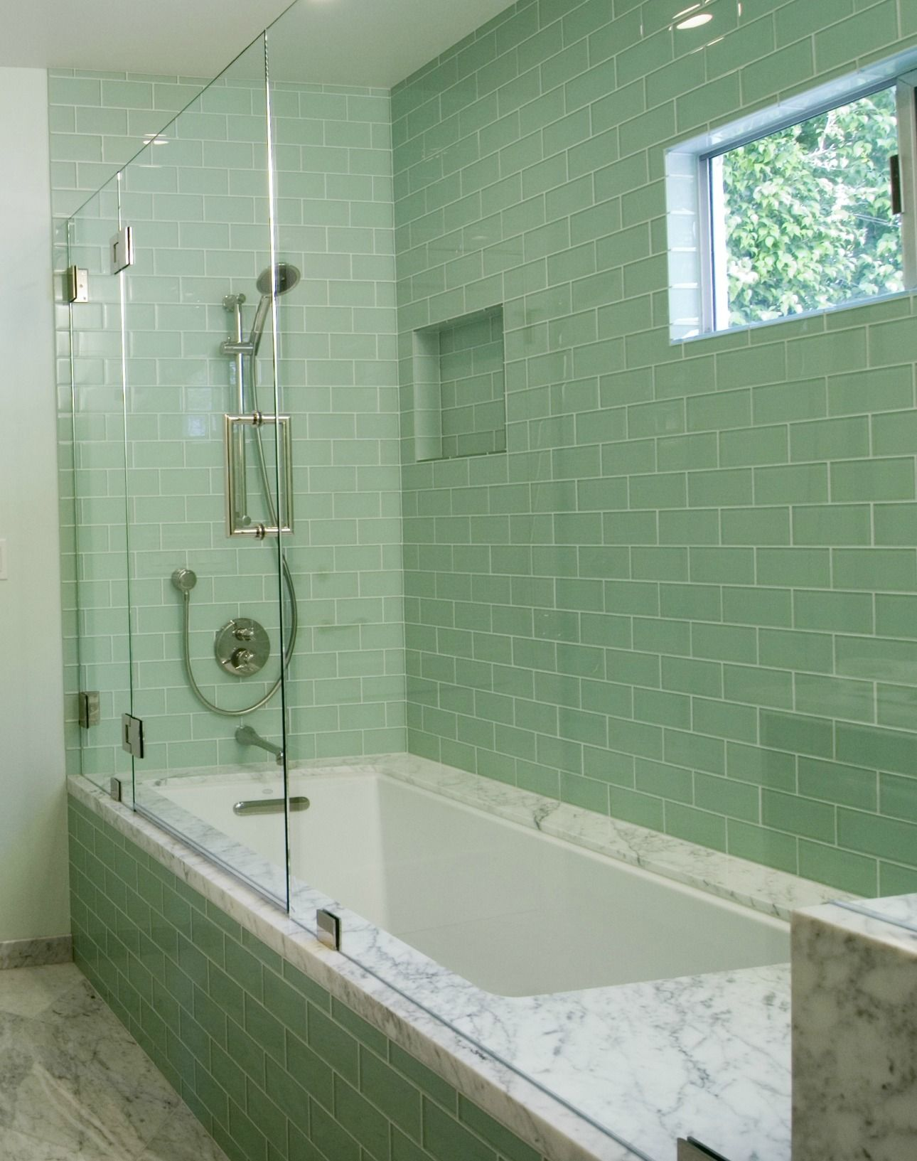 Most Popular Green Glass Subway Tiles With White Rectangular Porcelain Tub And Freestanding Showe Green Bathroom Guest Bathroom Design Patterned Bathroom Tiles