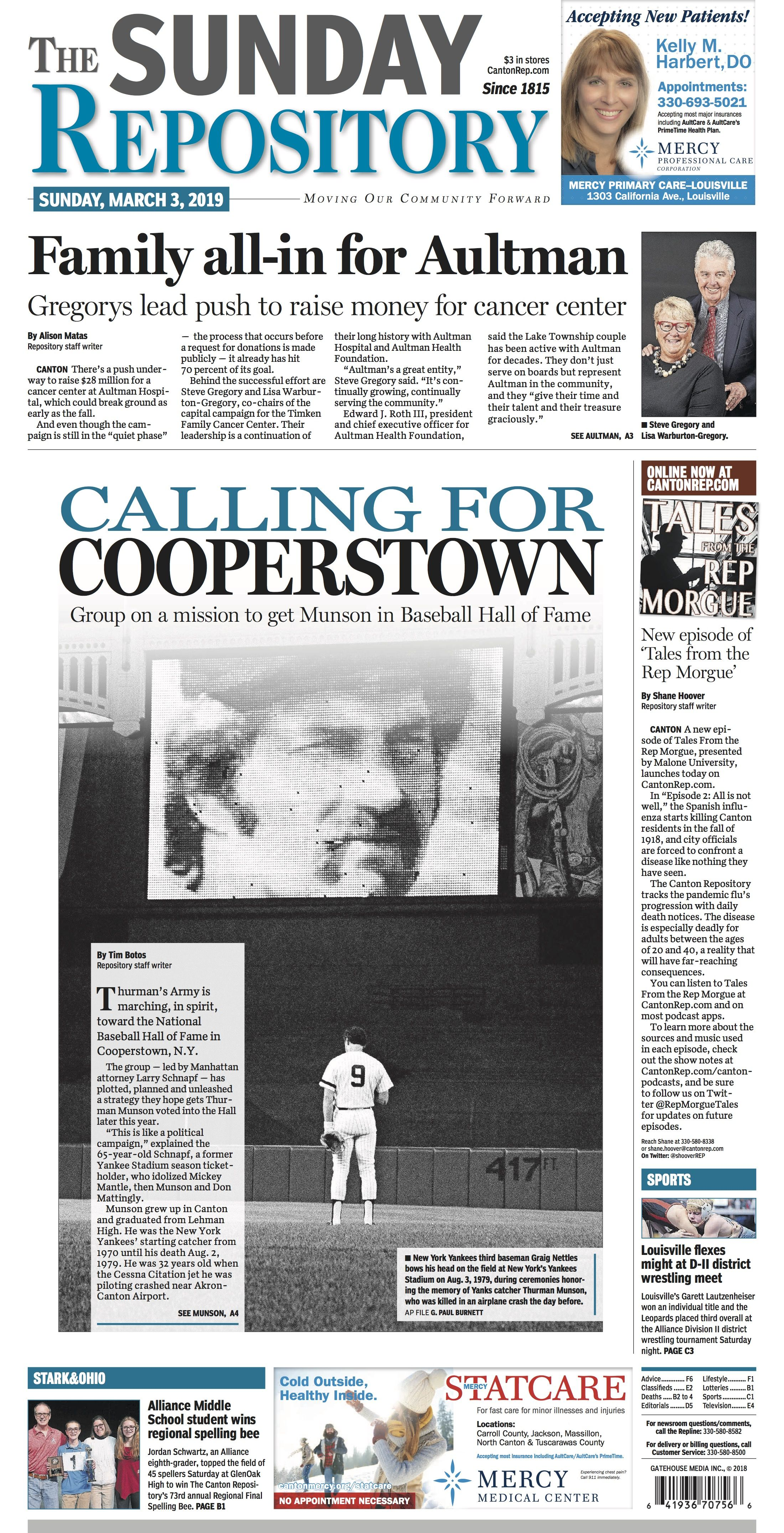 The Front Page Of The Canton Repository For March 3 2019 Film