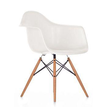 Vitra Eames Plastic Armchair Daw Der Eames Plastic Armchair Mit Dem Ahorn Untergestell Bietet Durch Seine Organisch Eames Weisse Stuhle