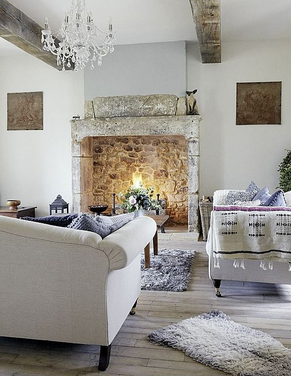 I That Fire Place Roses And Rust French Farmhouse Living Room Love The Stone Fireplace