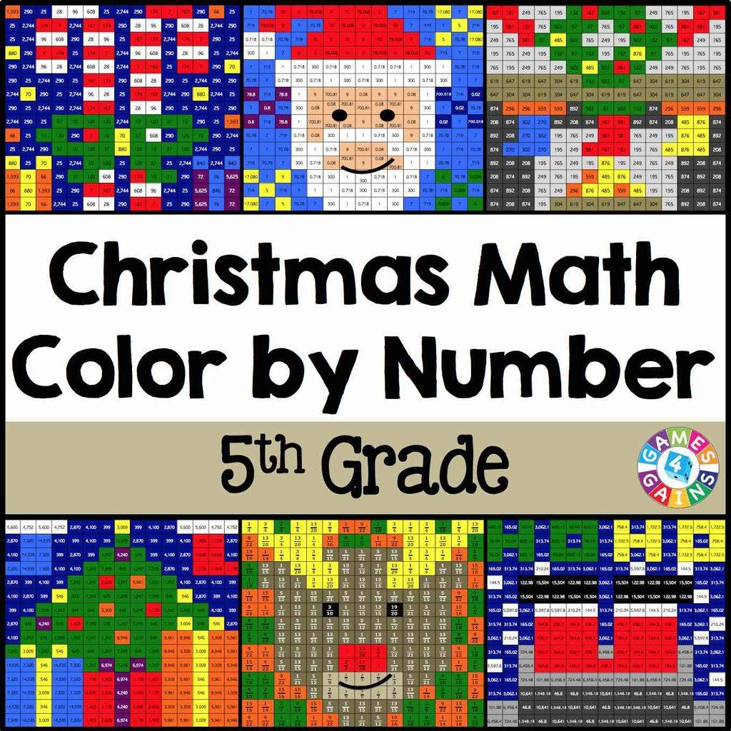 Christmas Math Color By Number 5th Grade Christmas Math Math Coloring Holiday Math [ 1024 x 1024 Pixel ]