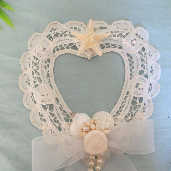 Beach Decor Lace heart with shells and by CarmelasCoastalCraft, $24.00
