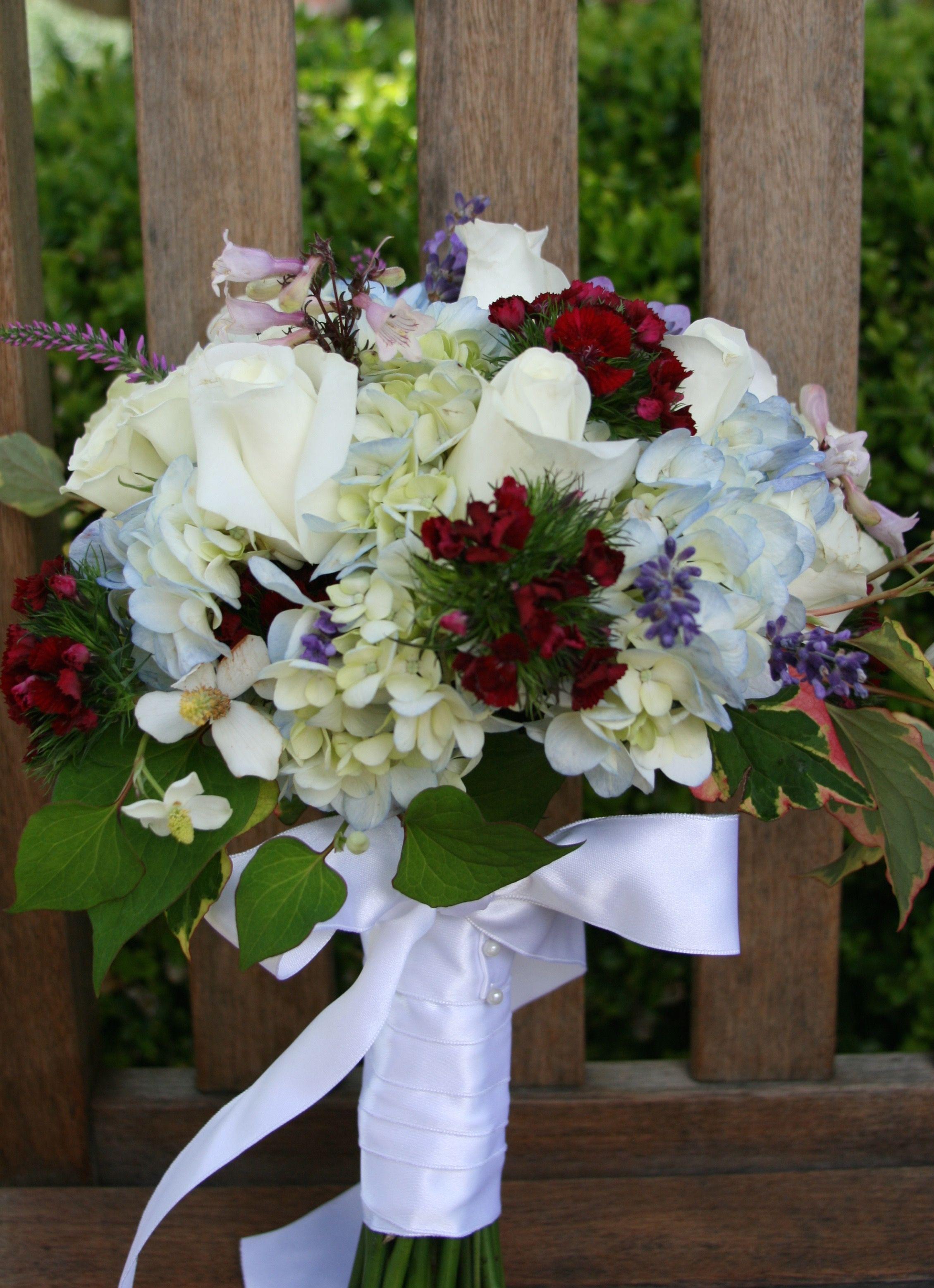 Summer Wedding Bouquet Blue Hydrangea White Roses Sweet William