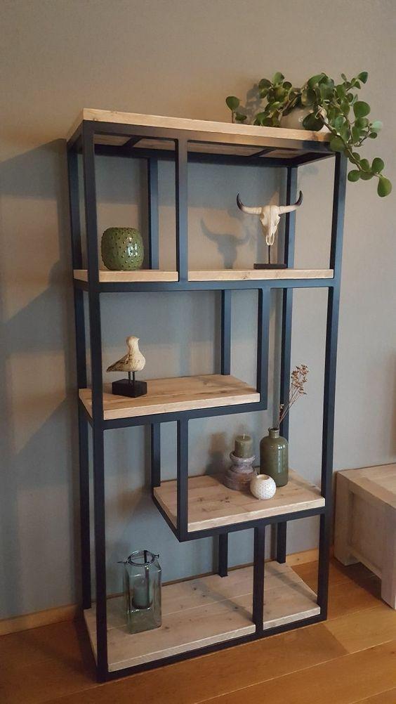 Mueble estilo industrial estante con l minas de madera for Mueble de pared industrial
