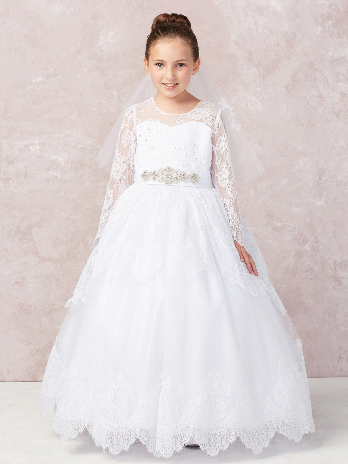 Long Sleeve Lace Applique Full Length Communion Dress 1180 In 2021 First Communion Dresses Girls First Communion Dresses Flower Girl Dress Lace [ 1600 x 1200 Pixel ]