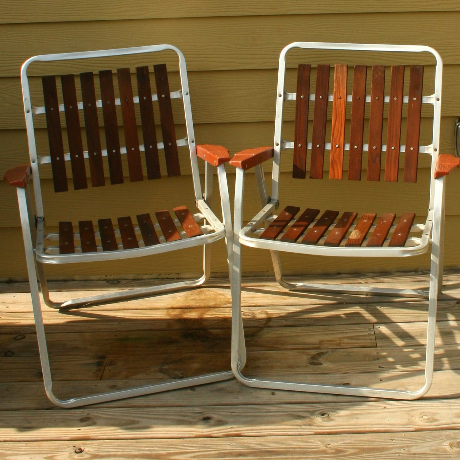 Vintage Folding Lawn Chairs Mid Century Modern Wooden Slats