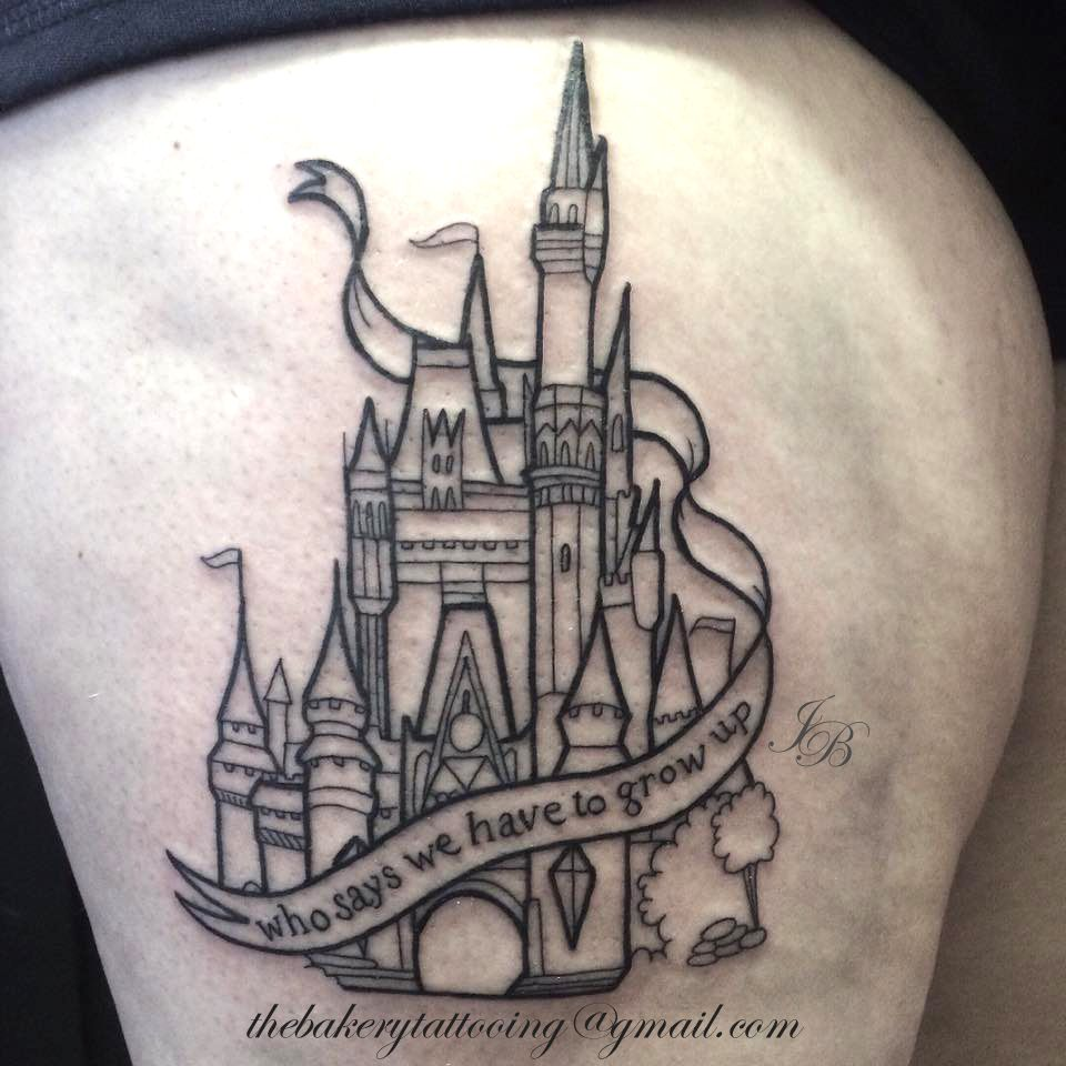 Disney tattoos and tattoo designs - 33 Exquisite Disney Castle Tattoo Designs Tattooblend