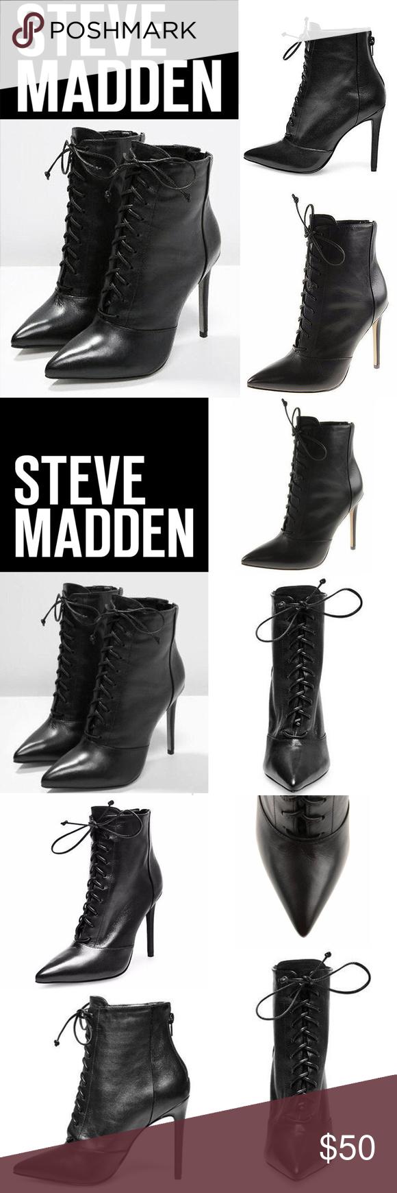 5e3103d6499 Steve Madden Black Leather Lace-up Heel Bootie Exquisite Steve Madden  PAULINEE