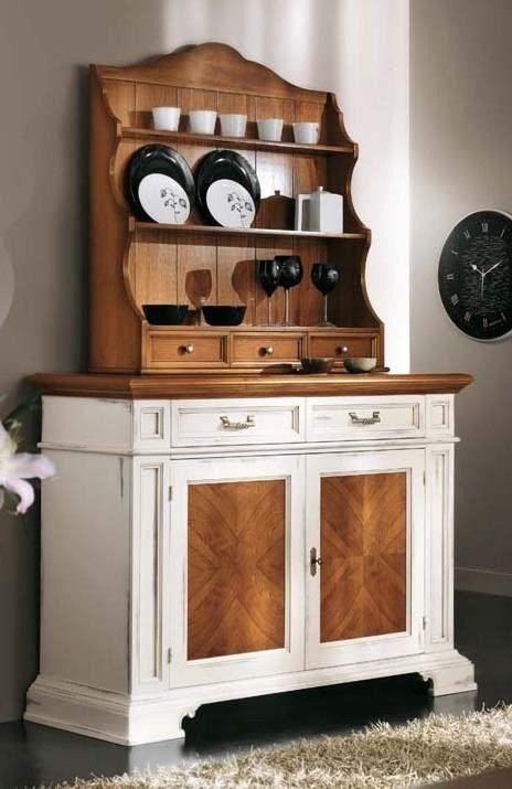 Credenza shabby in legno con piattaia antica in legno for Casa antica arredamenti