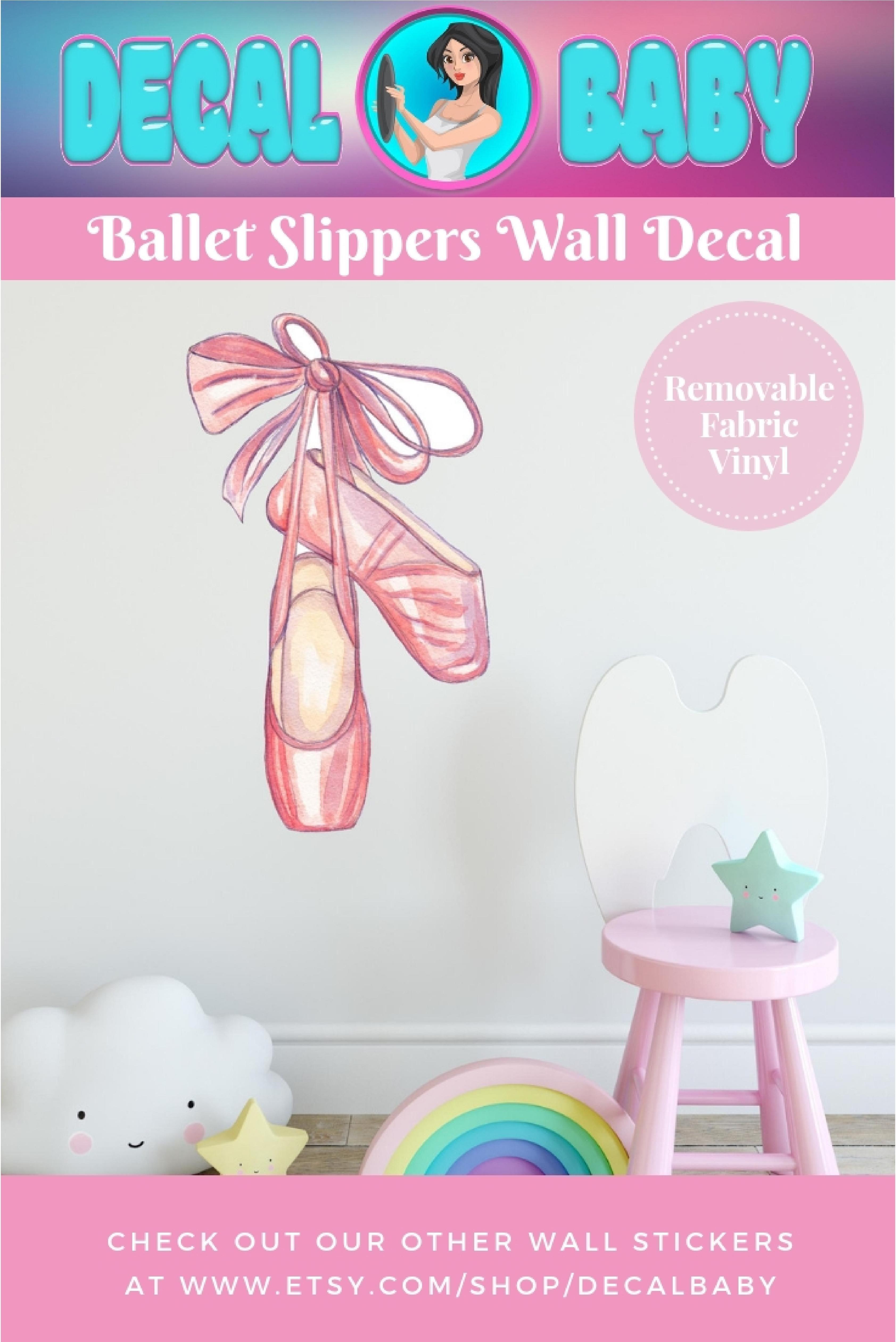 Pink ballet slippers wall decal sticker ballerina dance shoes