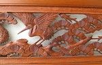 Japanese Handcarved Wood Ranma, Transom with Cranes