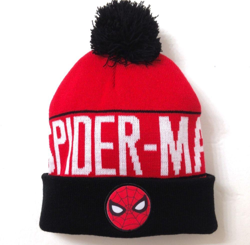 0191e8c3115 New SPIDER-MAN POM BEANIE red white black winter knit ski hat cap men women teen   Marvel  Beanie