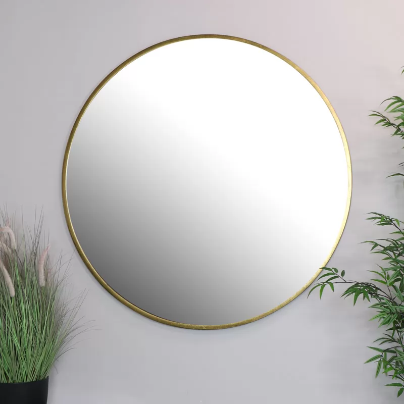 Extra Large Round Gold Wall Mirror 120cm X 120cm In 2020 Gold Mirror Wall Large Gold Mirror Framed Mirror Wall