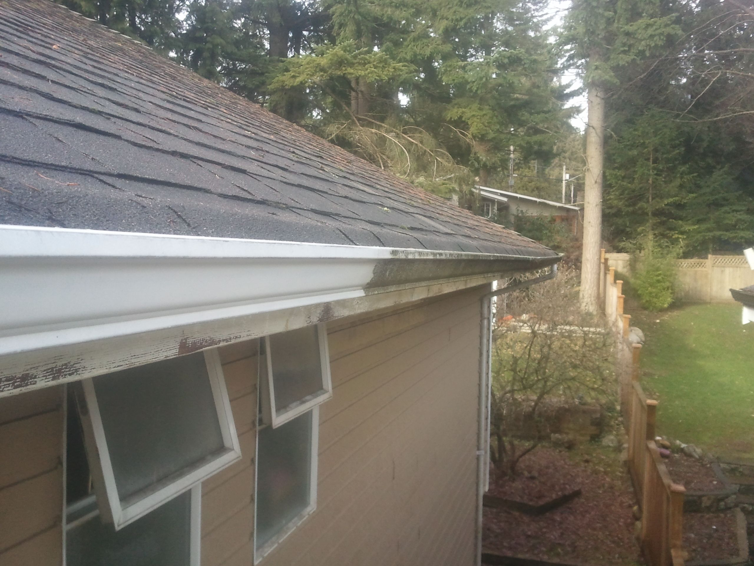 This Client Actually Thought They Had Brown Or Grey Gutters Before We Cleaned Them Cleaning Gutters Gutter Repair Outdoor Decor
