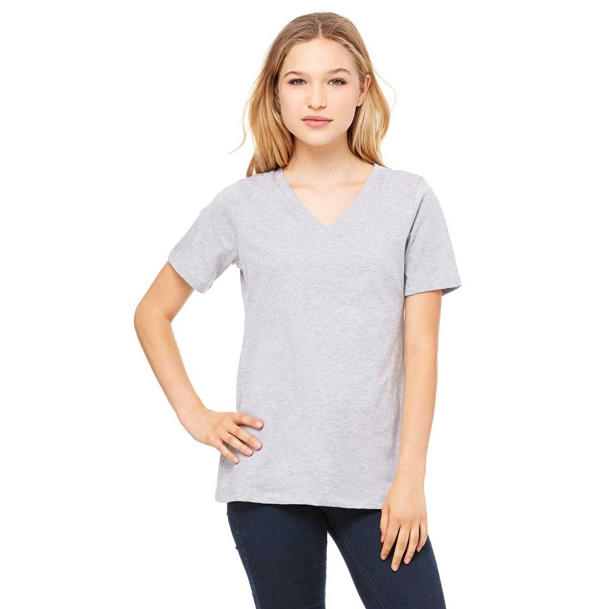 c44747462c9a Bella + Canvas Women's Athletic Heather Relaxed Jersey Short-Sleeve V-Neck T -Shirt