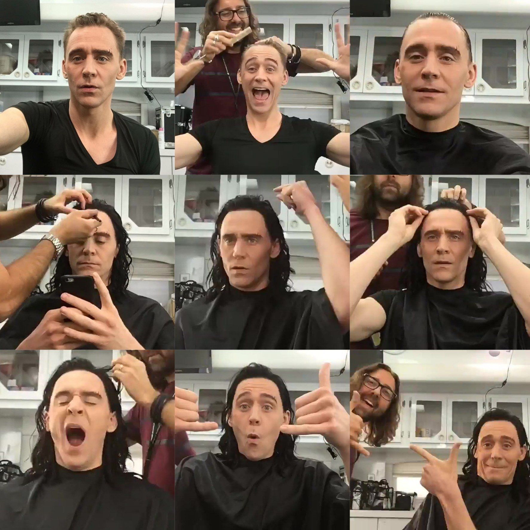 Behind the scenes hilarious pictures of Tom Hiddleston becoming Loki.