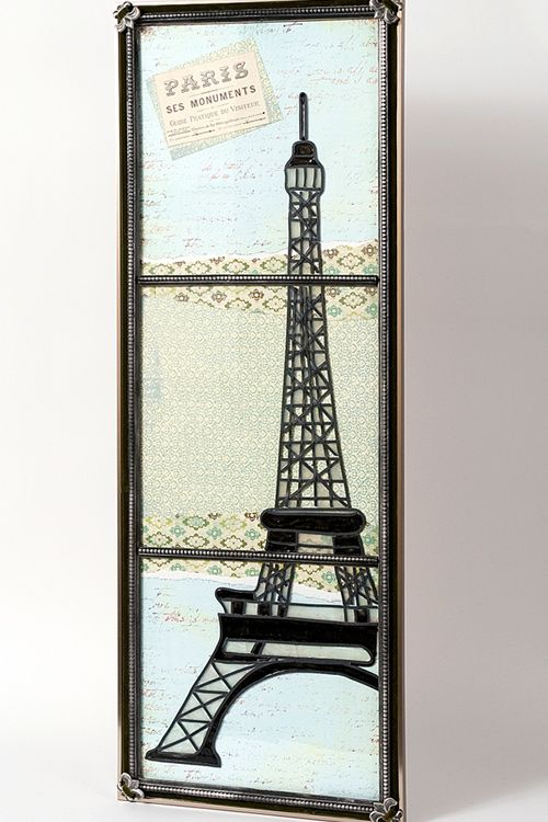 diy faux window eiffel tower art made with a poster frame gallery glass and scrapbook paper - Eiffel Tower Picture Frame