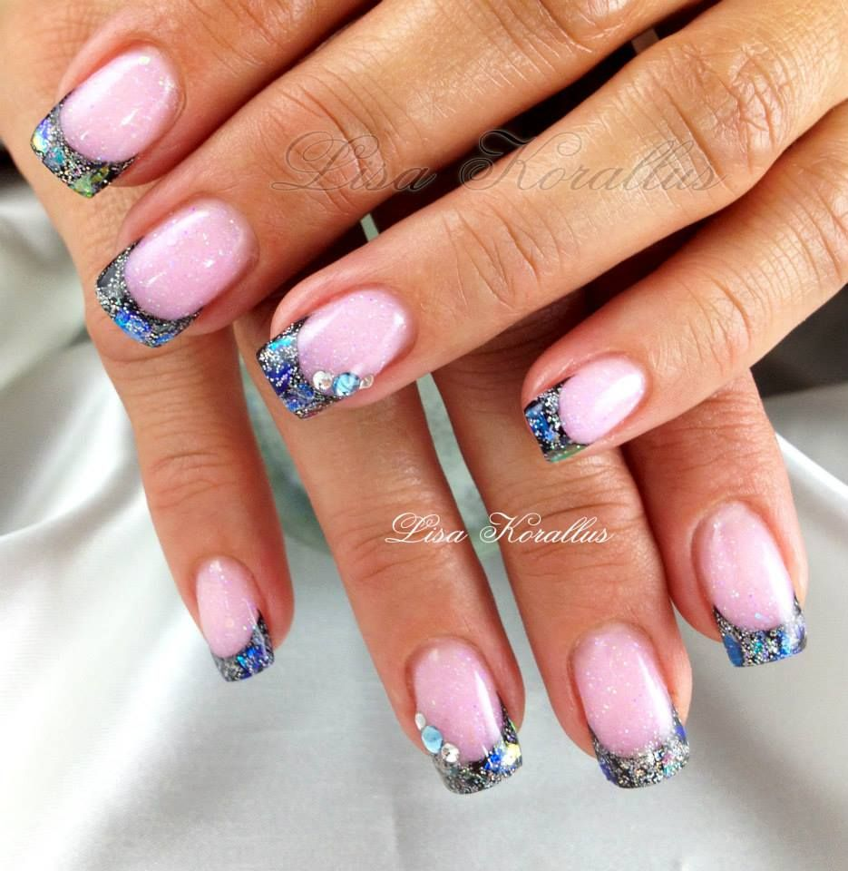Pink with marbled free edge and Swarovski crystals gel enhancement ...