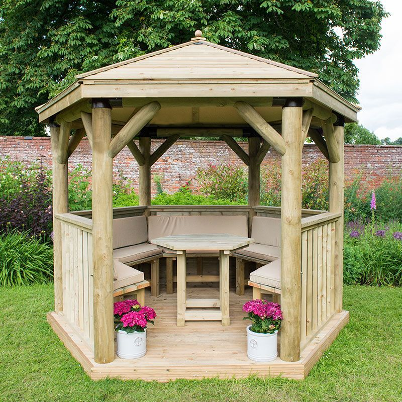 10 X9 3x2 7m Luxury Wooden Furnished Garden Gazebo With Traditional Timber Roof Seats Up To 10 People Wooden Gazebo Garden Gazebo Gazebo