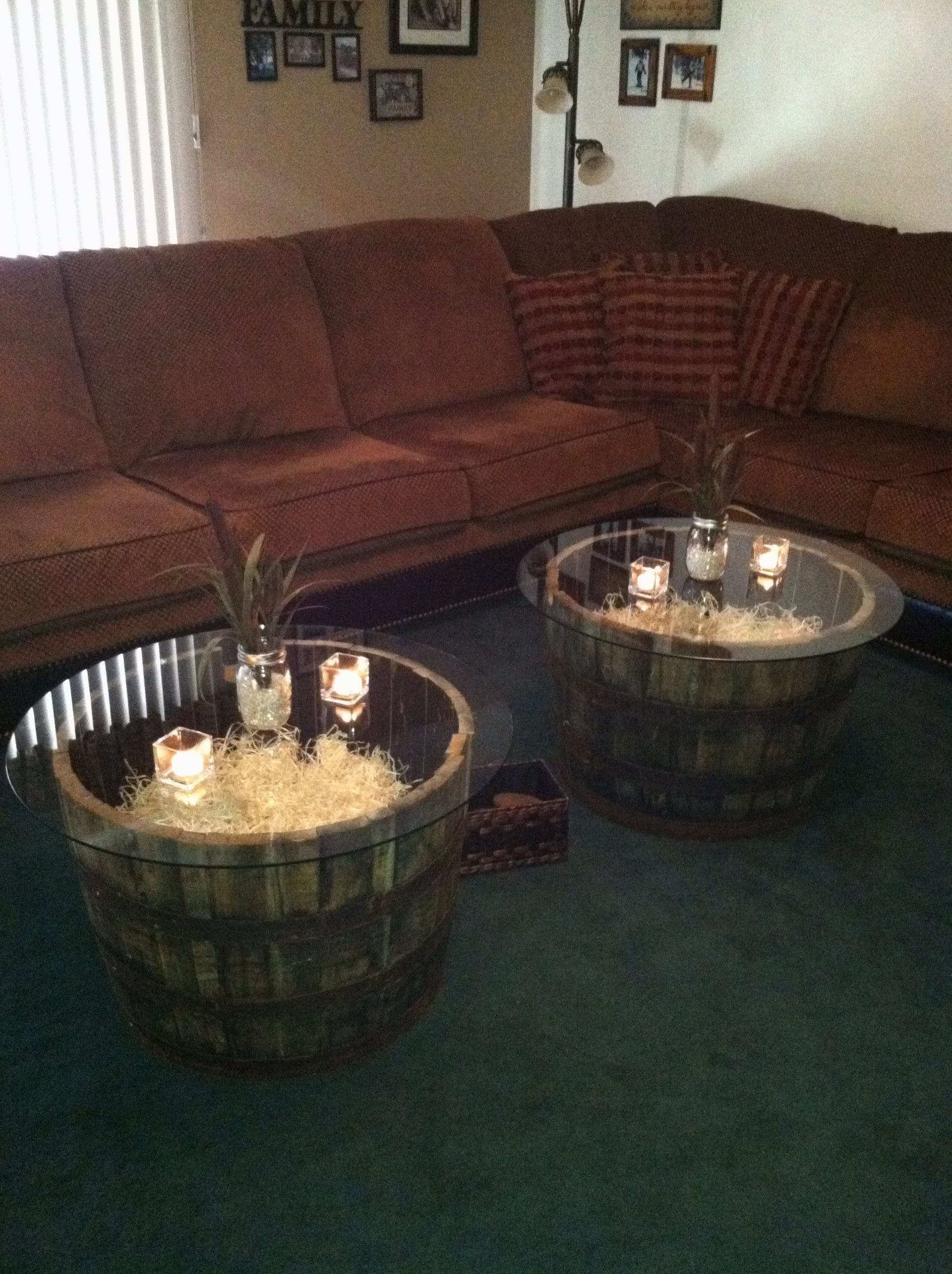 Jack Daniel s Whiskey barrel coffee tables Barrels can be found