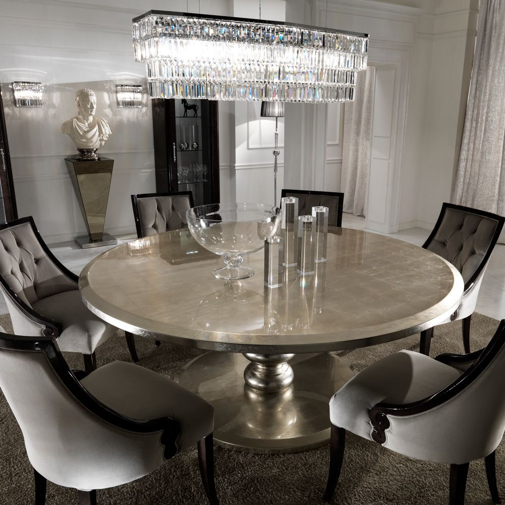 Large Round Italian Champagne Leaf Dining Table And Chairs Set Juliettes Interiors Round Dining Room Table Round Dining Room Dining Room Table Set