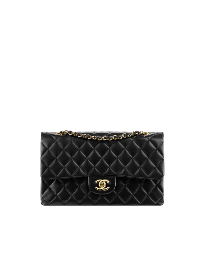 853087f424c1 Small classic flap bag, lambskin & gold metal-black - CHANEL ...