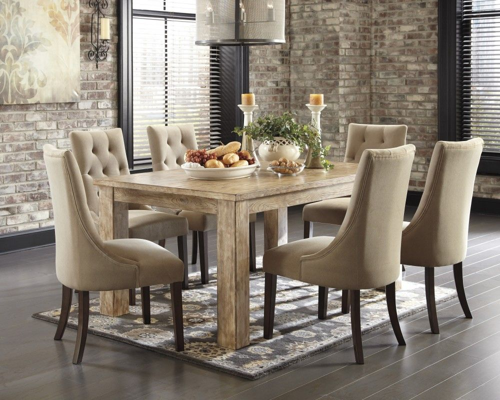 Mestler Bisque Rectangular Dining Room Table & 6 Light Brown Uph Fair Dining Room Sets Ashley Furniture 2018