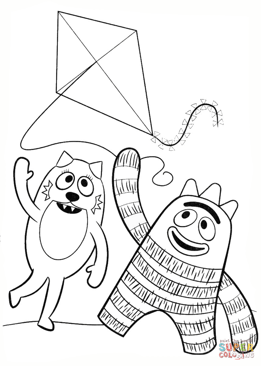Toodee And Brobee Are Playing With Kite Coloring Page Free Printable Coloring Pages Yo Gabba Gabba Free Printable Coloring Pages Coloring Pages